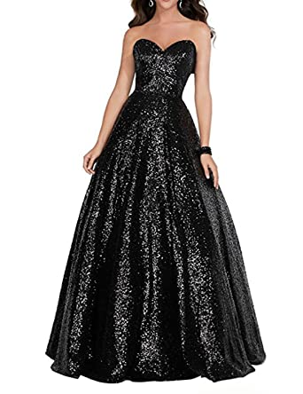 CIRCLEWLD Strapless Prom Dress Long Sequin Evening Gowns Plus Size Formal for Women Black Size 2