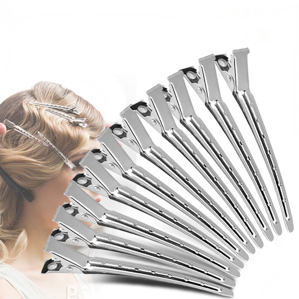 12PCS Women Lady Girls Professional Hairdressing Duck Bill Alligator Hair Clips Silver Stainless Steel Modelling Positioning Clamp Flyott