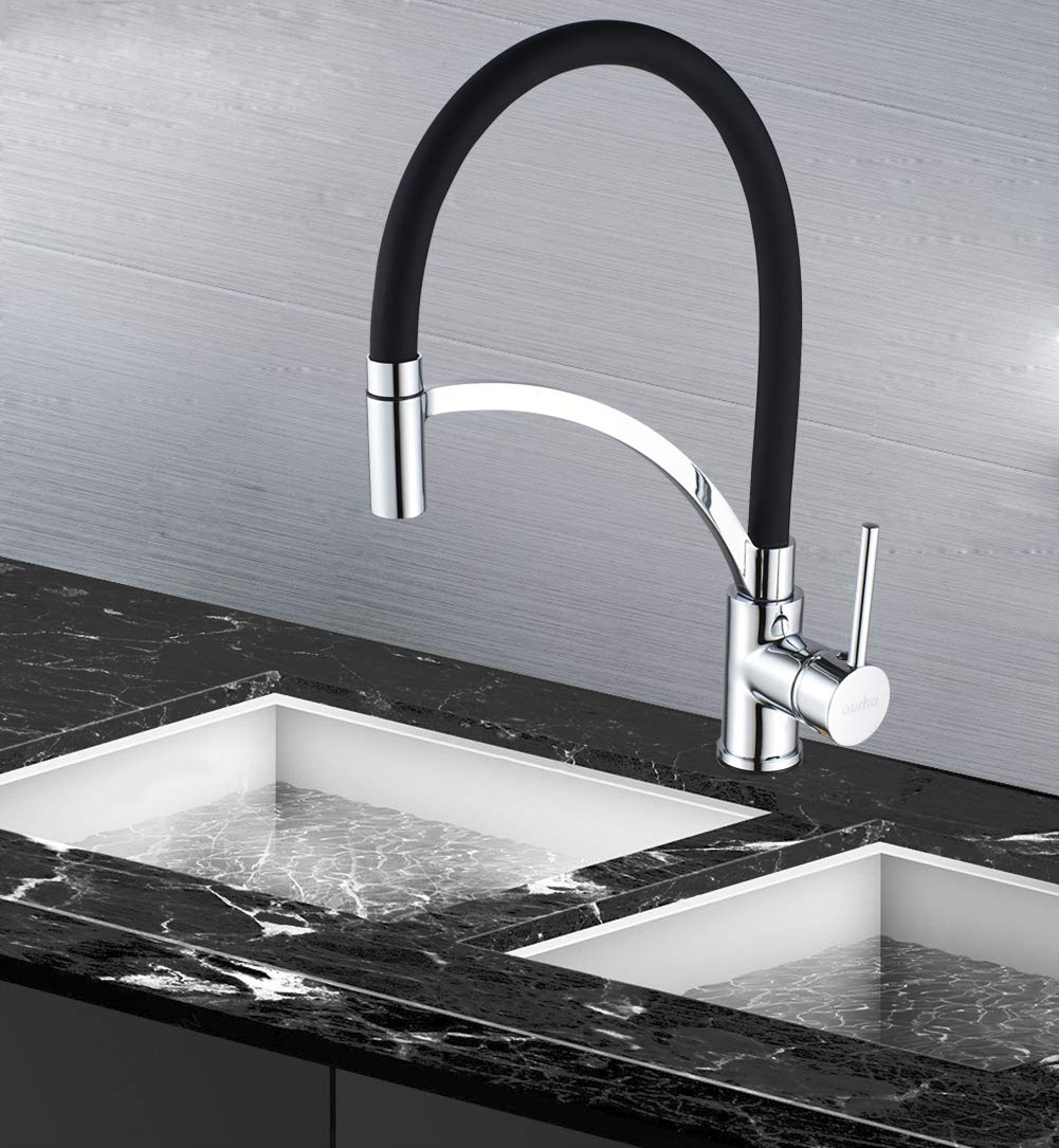 Kitchen Basin Sink Faucet- Aurho 360 Degree Swivel Spout Single Lever Pull Out Kitchen Sink Taps, Chrome Pull Down Kitchen Mixer Tap with Swivel Spout,Black