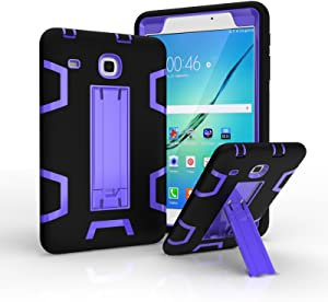 """Ycxbox Samsung Galaxy Tab E 8.0"""" T377 Case, Galaxy Rugged Kickstand Stand Heavy Duty Kids Proof Protective Case for SM-T377A / SM-T377V / SM-T377P (Black+Purple)"""