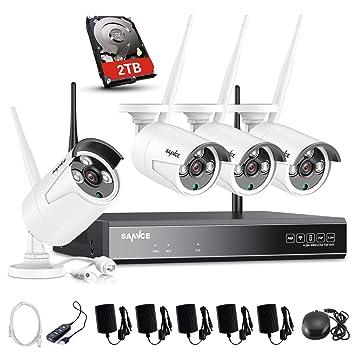 SANNCE Kit Sistema de Seguridad Inalámbrico 1080P 4CH NVR+ 4 Cámaras de vigilancia 100W con 2TB