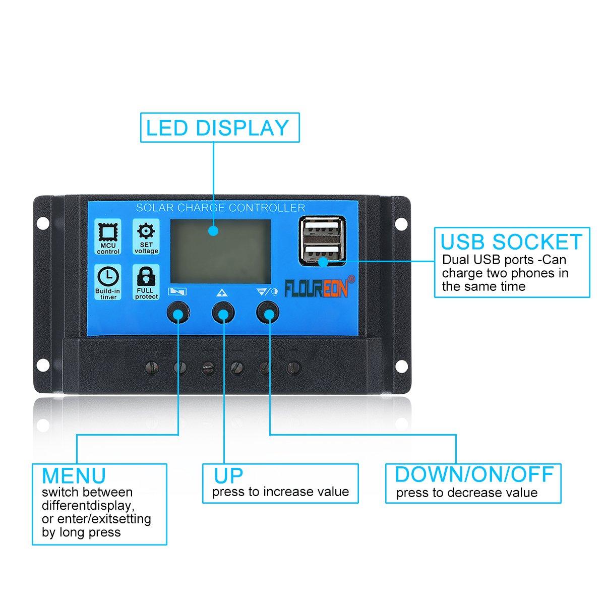 floureon 10A Solar Charger Controller Solar Panel Battery Intelligent Regulator with USB Port LCD Display 12V//24V
