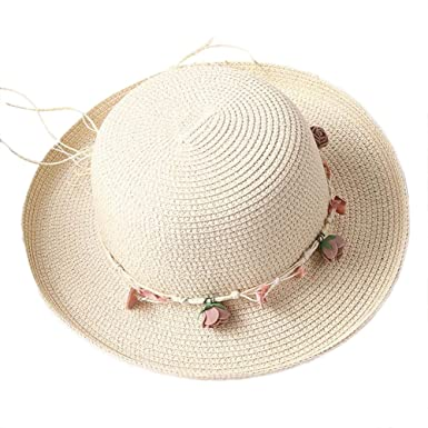 bfcb754d601 Westeng Sun Hat Ladies Women Beach Straw Hat Holiday Leisure Sun Protection  Cap Wreath Decoration Flanging Cap Breathable  Amazon.co.uk  Clothing