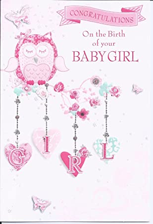 Congratulations of the birth of your baby girl greetings card owl congratulations of the birth of your baby girl greetings card owl new m4hsunfo