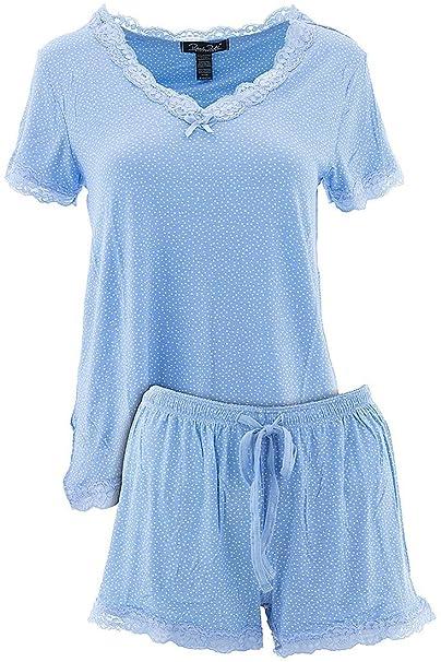 f7215248b11 Rene Rofe Women s Blue Dots V-Neck Short Pajamas S at Amazon Women s  Clothing store