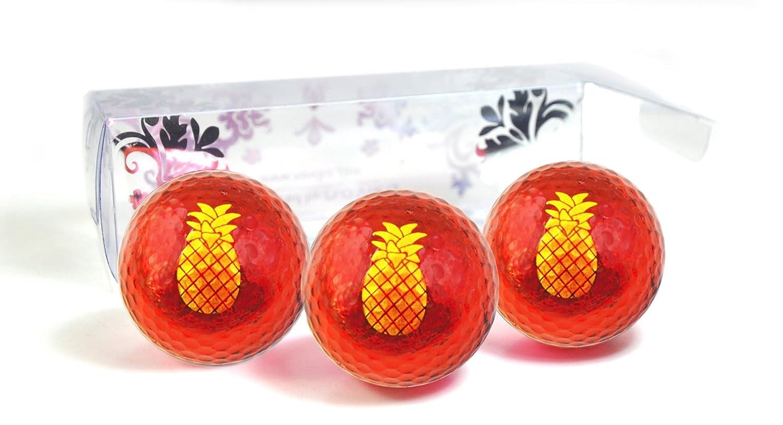 Golf Balls Red Metallic with Pineapple Imprint