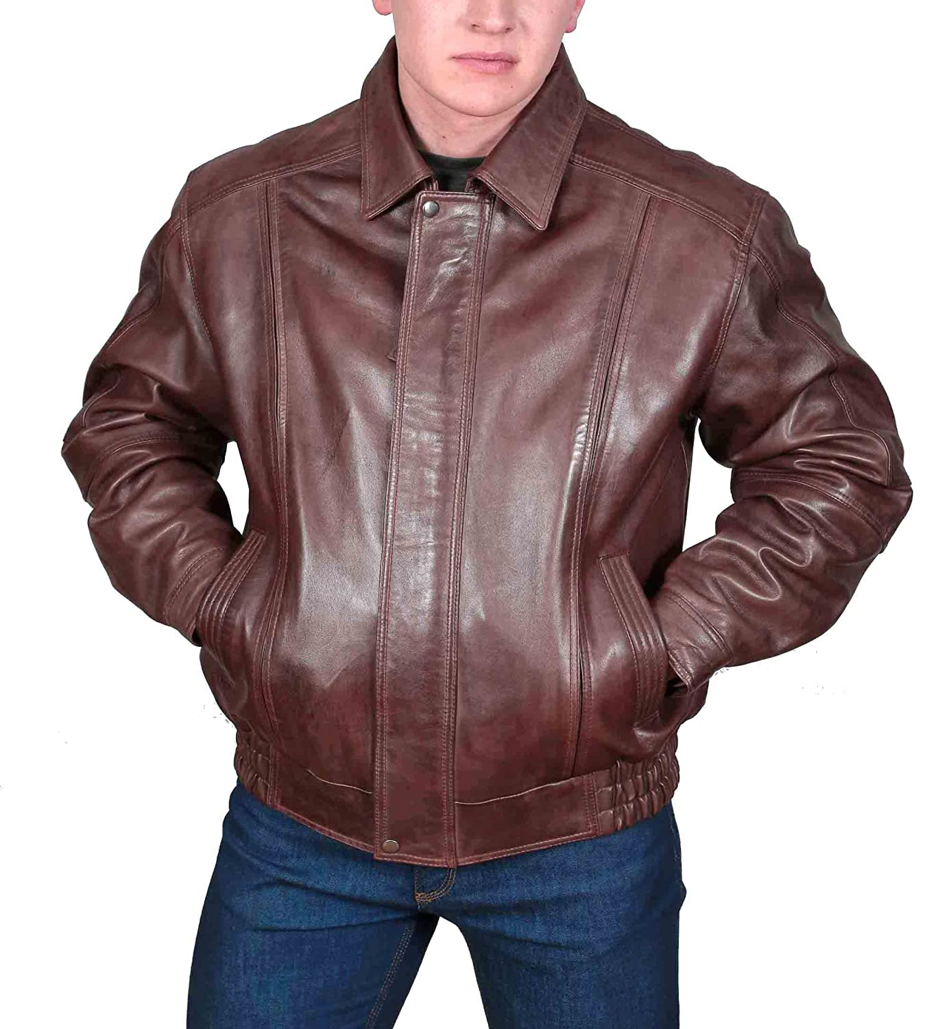 Mens Real Leather Classic Bomber Style Gents Blouson Coat Jim Brown