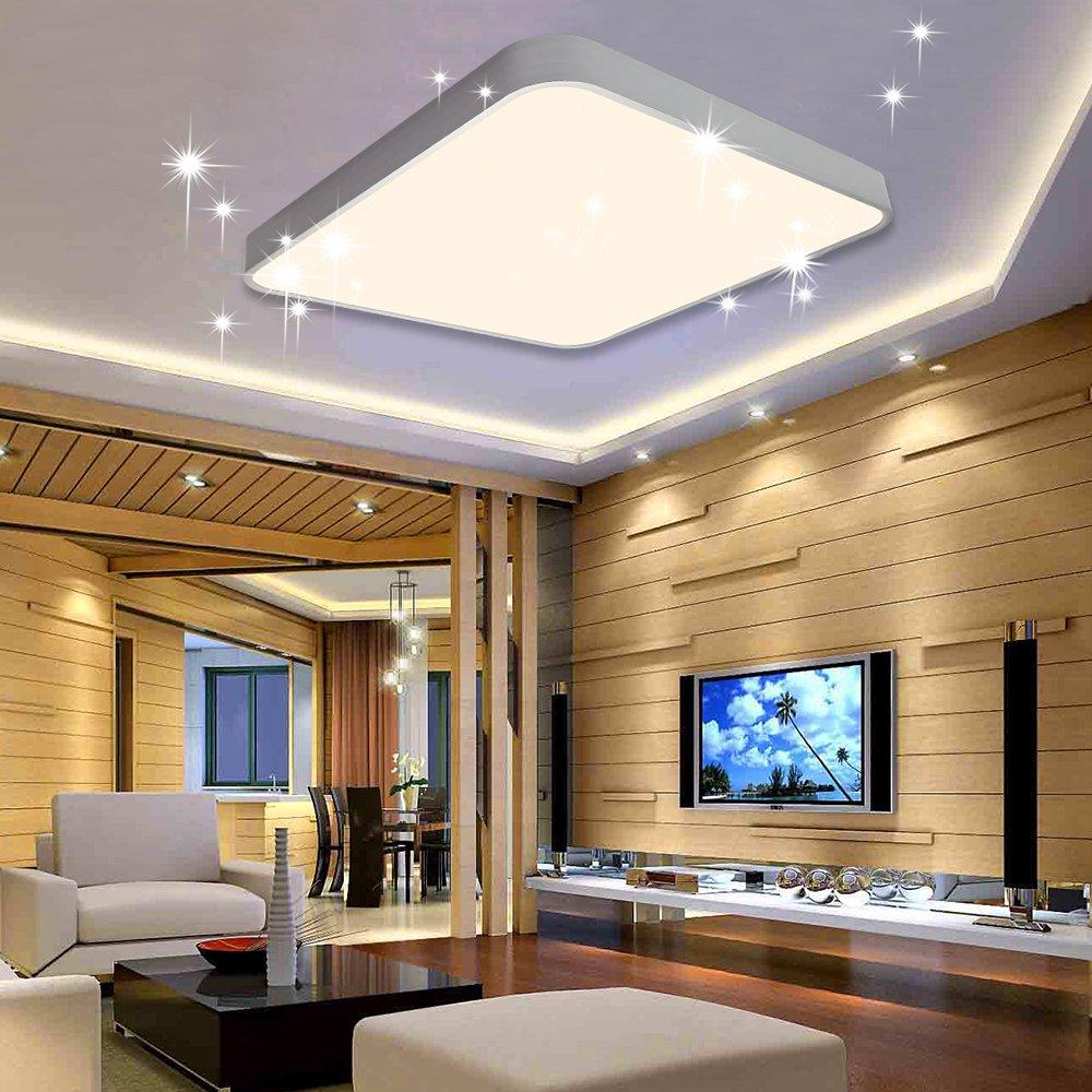 VINGO® 60W LED Deckenleuchte Kaltweiß Sternenhimmel Wohnzimmerlampe Küchenleuchte Deckenbeleuchtung Panel Lüster Ultraslim Schlafzimmer Esszimmer energiesparend B-1-HG4285