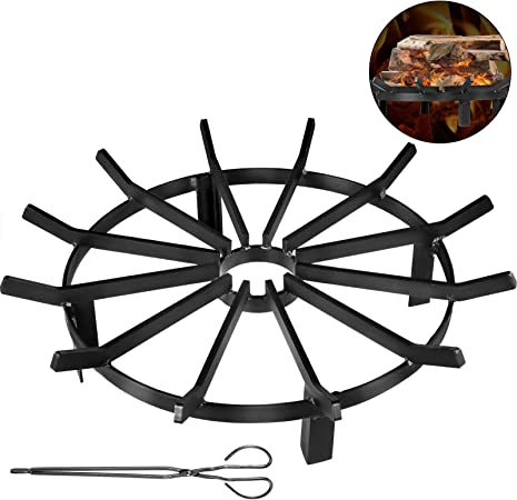Steel 3//4-Inch Thick Spokes Fire Grate Wheels for Outdoor Campfire VBENLEM Wheel Firewood Grate 12-Inch Diameter Fire Pit Log Grate with 4-Inch High Log Bed Fire Pit Grate Round