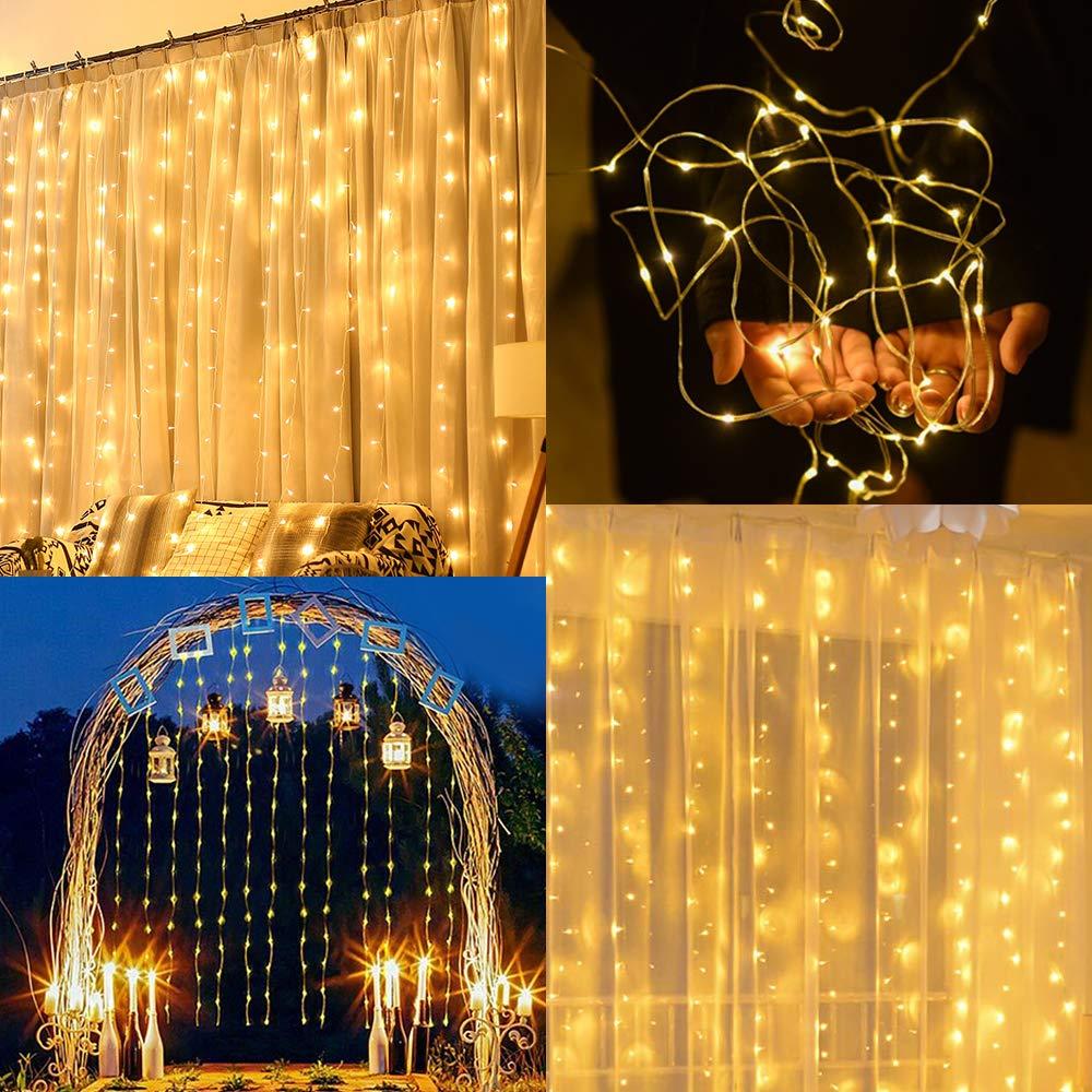 Decoraci/ón Navidad Casa Jard/ín Cortina de Luces LED USB Clase de eficiencia energ/ética A Zorara 3x3 m 300 LEDs 8 Modos Cortinas de Luz Impermeable Cadena Luz de Cortina Blanca C/álida para Bodas