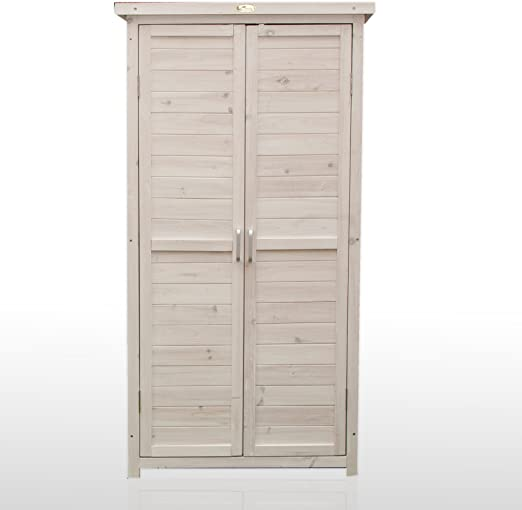 Jarsya Provenzio - Armario de exterior para almacenaje de terraza y jardín en madera, blanco, 69 x 37 x 153 cm: Amazon.es: Jardín