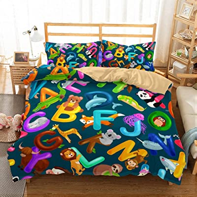 PATATINO MIO Kids Bed Set Twin Size 3D Bear Panda Fox Mouse Lion ABC Letters Bedspread Cartoon Boys Girls Duvet Cover Set Blue Decorative 2 Pieces with 1 Duvet Cover 1 Pillowcase No Comforter: Home & Kitchen