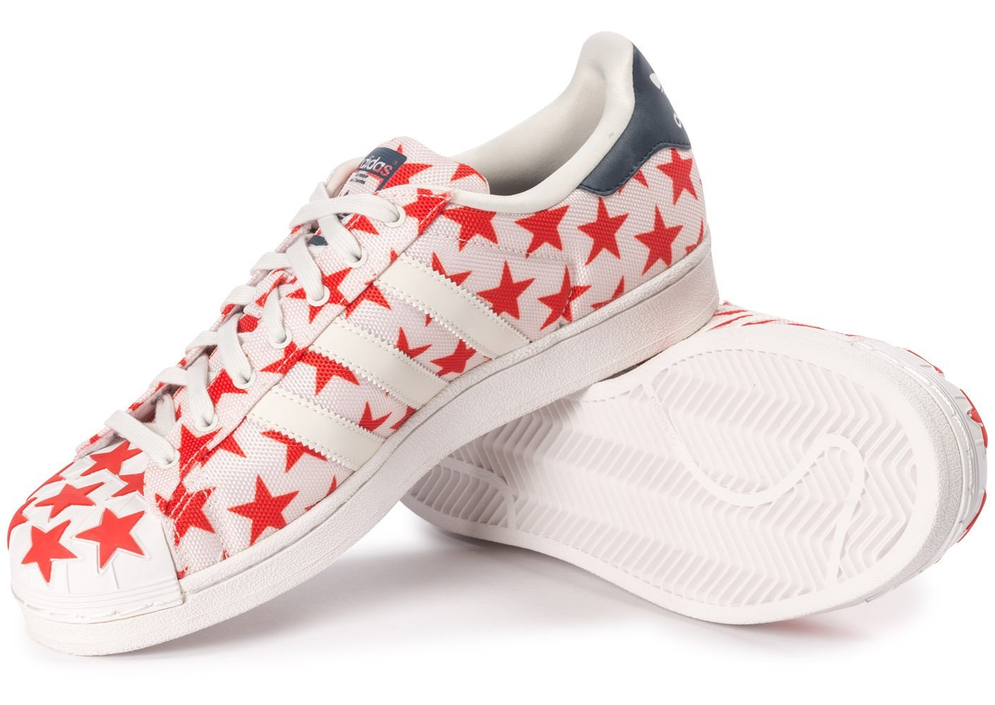 Adidas - Superstar Shell Toe Pack - Colore: Bianco-Blu marino-Rosso - Taglia: 41.3