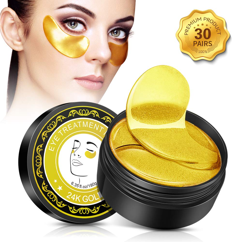 Collagen Under Eye Gel Patches Reduces Wrinkles,Anti-Aging and Lightens Dark Circles Under Eyes,24K Gold Snail Repair Intensive Under Eye Treatment Mask,30 Pairs by KAJURY