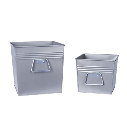 Amazon Com Household Essentials Decorative Metal Storage Bin Set Of 2 Medium And Small Gunmetal Home Kitchen