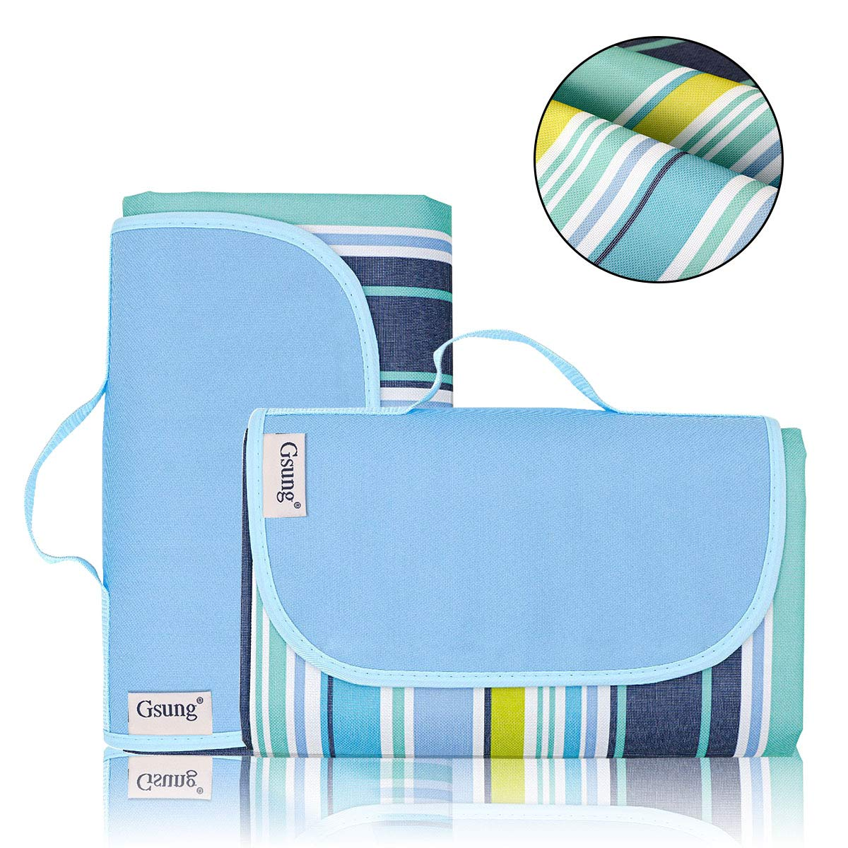 Gsung Outdoor Waterproof Picnic Blanket Extra Large Picnic Blanket Beach Mat with Tote for Hiking,Camping,Traveling Oversized Seat for Family 79''x59''