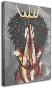 CHILL·TEK African American Black Queen Praying Canvas Wall Art - Aesthetic Art Paintings for Bar Hotel Office - Stretched and Framed Artwork Wall Decor Ready to Hang for Home Decorations