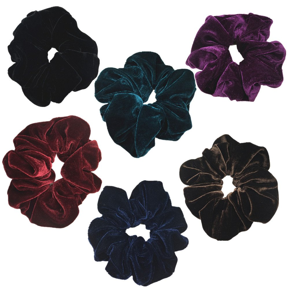 6 Pack Mix Color Large Velvet Scrunchies for Auldt Women Large Elastic Hair Ties Ropes PIDOUDOU fashion