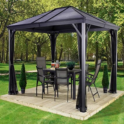Wonderful AMGS Hot Tub Gazebo Canopy Patio Outdoor Tent Curtains 10x10 BBQ Grill  Netted Cover Set Garden