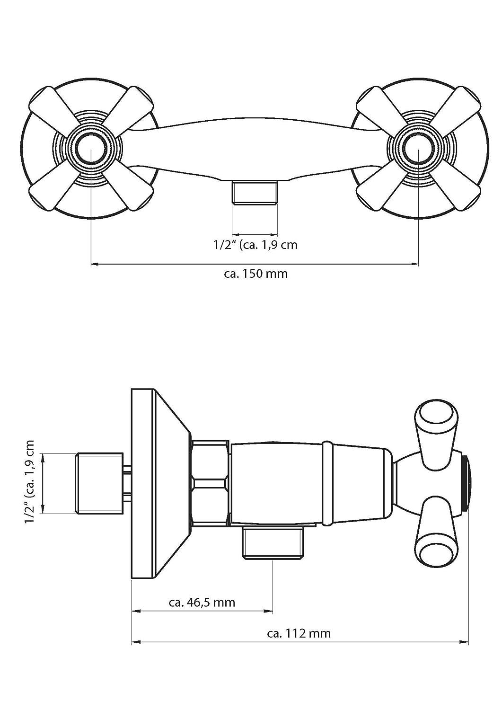 Eisl Waschtischarmatur Nostalgie II NI075NO2CR Badarmatur mit Ablauf-//Exzentergarnitur Zweigriffarmatur Chrom