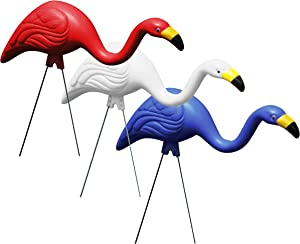 Bloem G3 Red White & Blue American Mingo Flamingo Yard Stakes (3-Pack), 2 Pack
