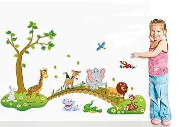 Amazoncom Jungle Animal Across The Bridge Removable Cartoon Wall - Kids wall decals jungle