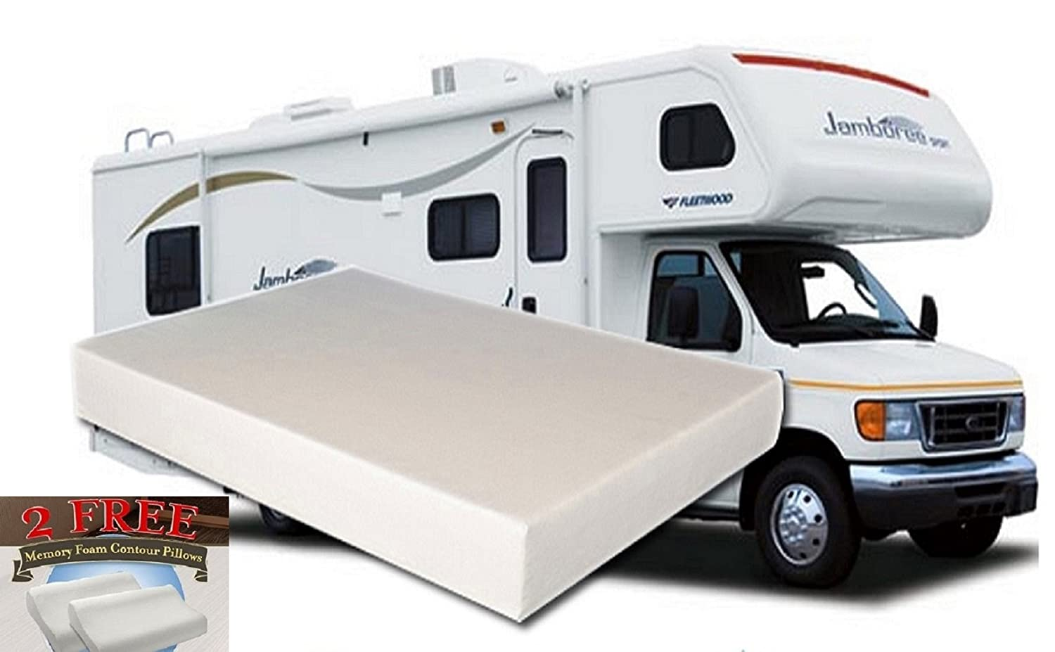 10-Inch King MEDIUM-FIRM Memory Foam Short Mattress for RV - Camper - Made in the USA - 2 FREE Pillows