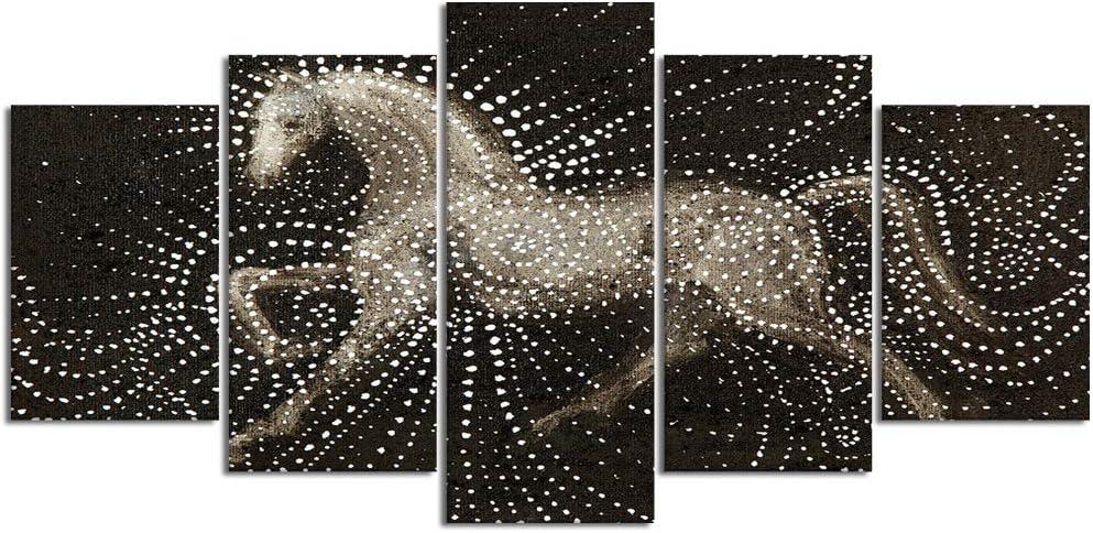 YOUMEISU Cuadro en Lienzo,5 Partes Pintura al óleo sueño Caballo yegua Semental lusitano Caballo lusitano Hermosa Feliz Horse de Arte de Pared Decoración del Hogar para el Cartel Modular