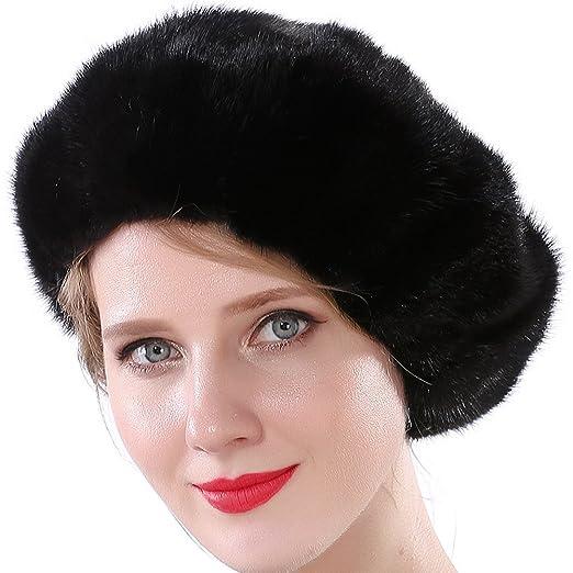 a17f2ffea66 Valpeak Women Cap Winter Mink Fur Berets Hat (Black) at Amazon ...