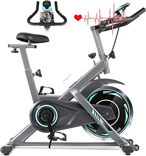 FUNMILY Indoor Exercise Bike Stationary, Cycling Bike-Belt Drive with Heart Rate Monitor LCD Monitor, Comfortable Seat Cushion, Flywheel- Commercial Standard for Home Cardio Workout