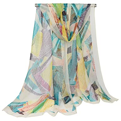 HBSHE Womens Automne Georgette écharpe géométrique imprimé long châle Hijab  musulman élégant (4  Beige 68916a5288a