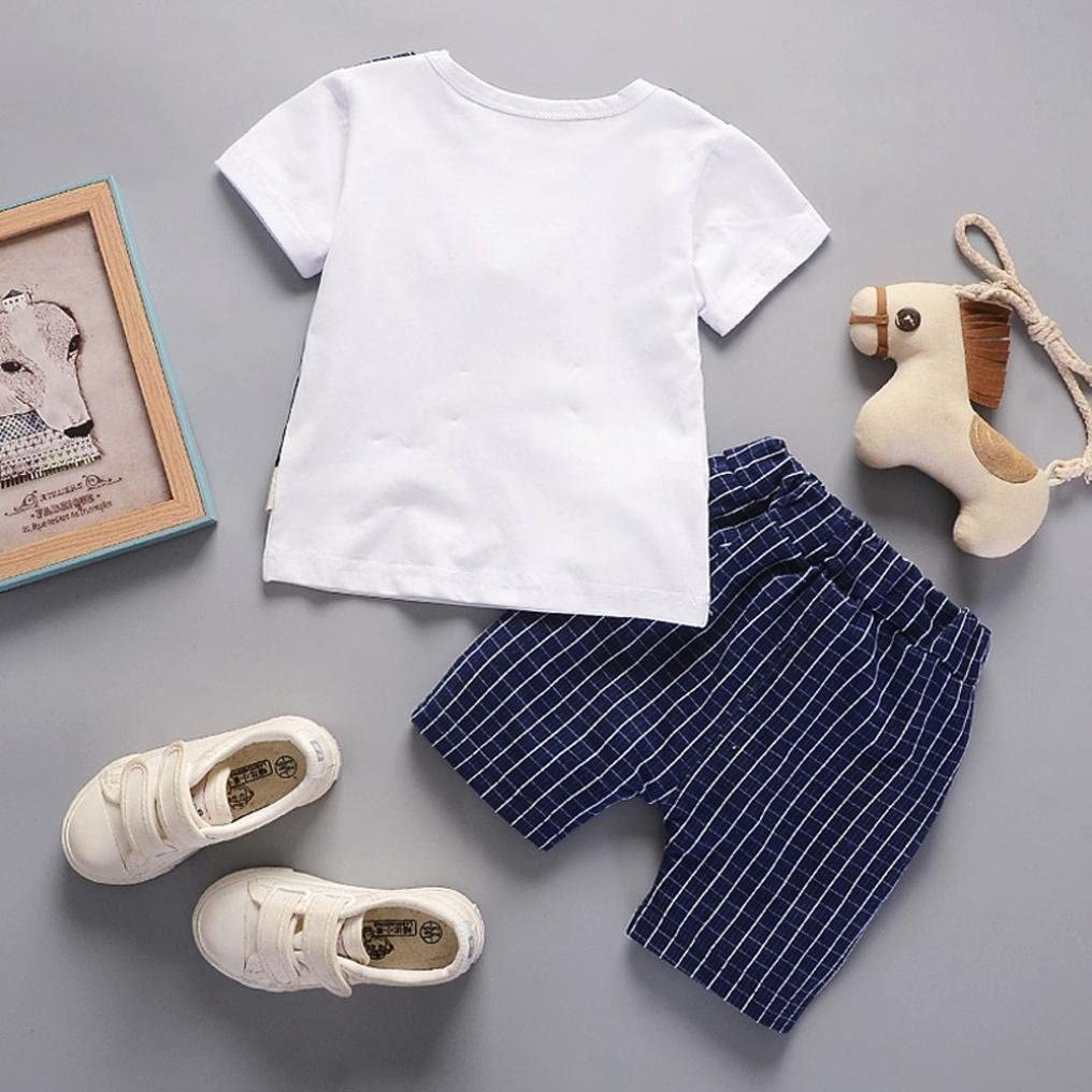Jimmackey 2Pcs Neonato Bambino Camicia Plaid Bowknot Lettera T-Shirt Cime Pantaloncin Abiti Set