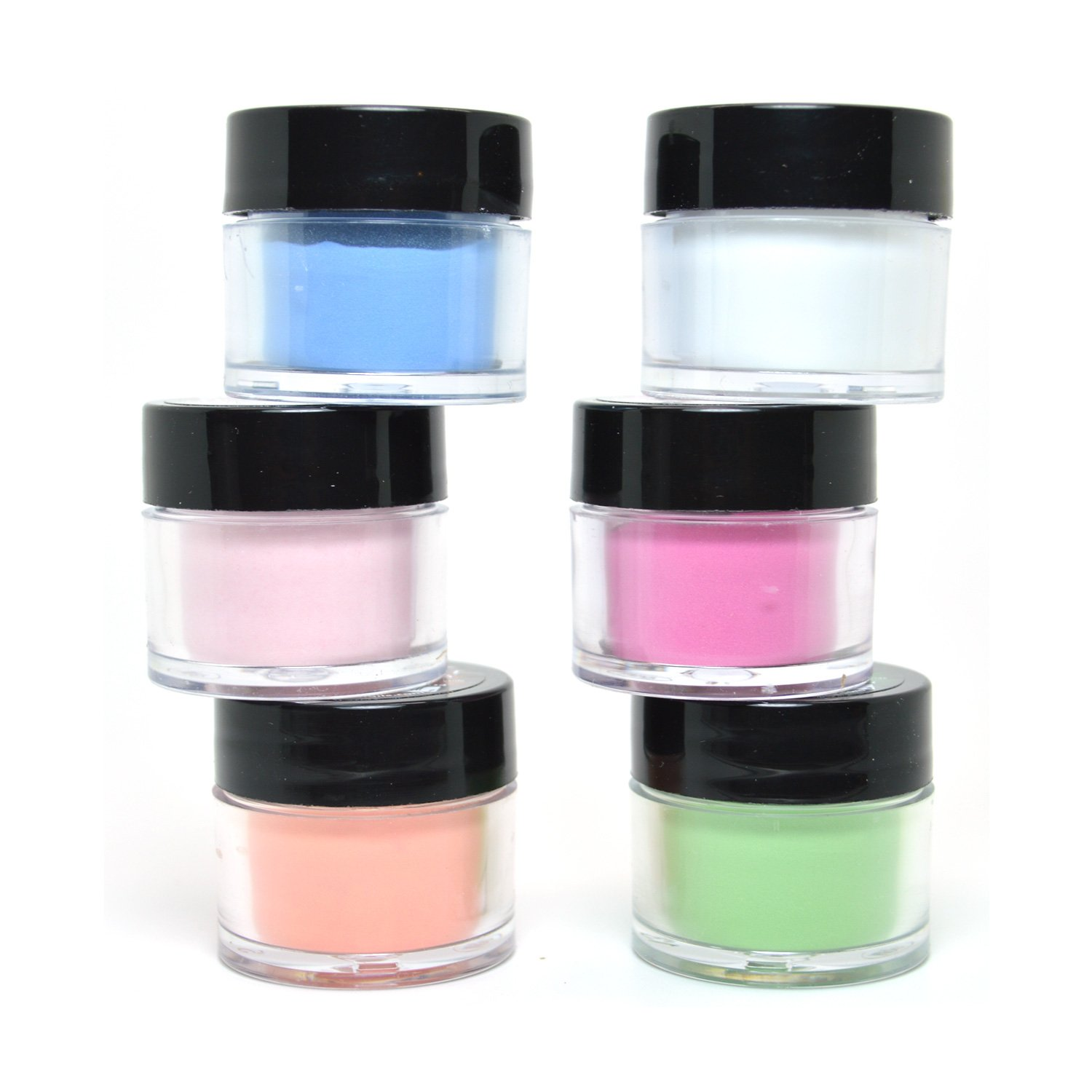6 PCS MIA SECRET NAIL ART ACRYLIC POWDER NEON GLOW IN THE DARK + FREE EARRING by Mia Secret