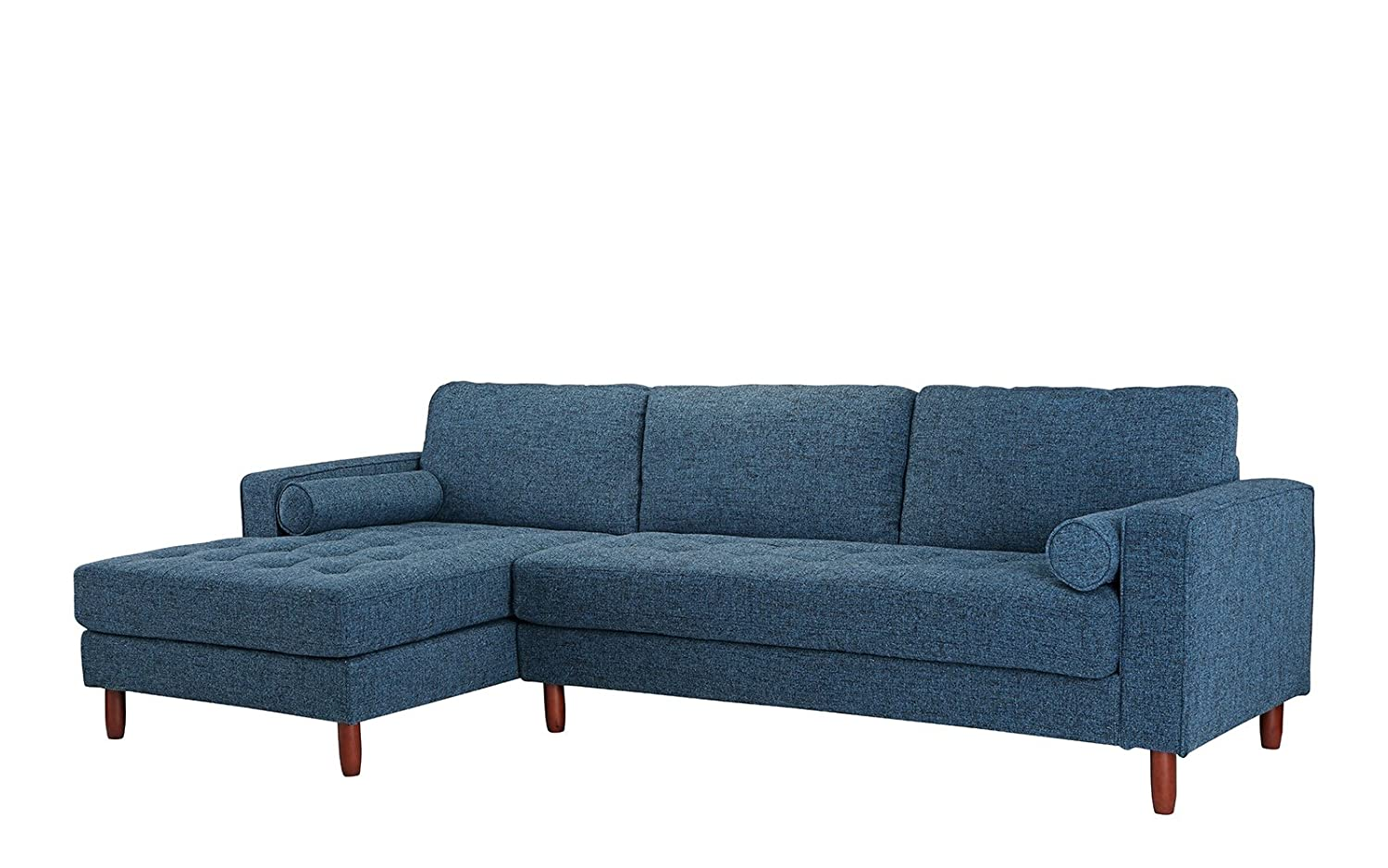 Amazon com divano roma furniture mid century modern tufted fabric sectional sofa l shape couch with extra wide chaise lounge dark blue kitchen dining