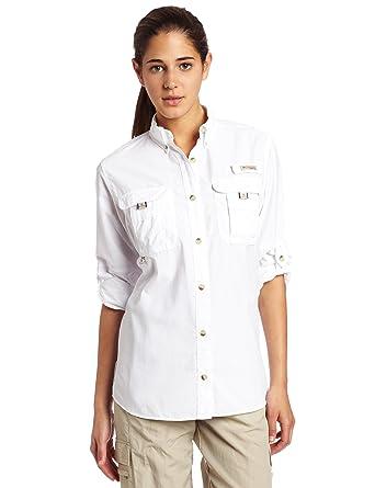 Columbia Women's Bahama Long Sleeve Shirt, White, Small