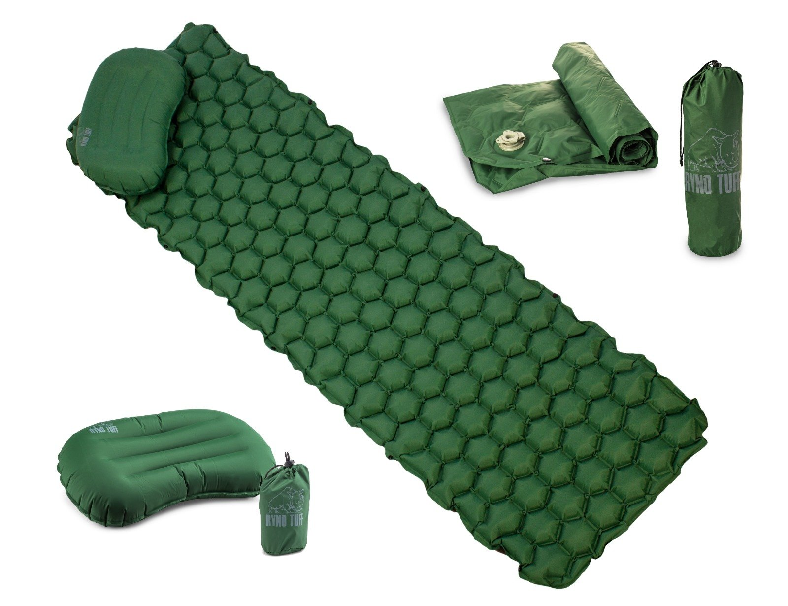 Ryno Tuff Ultralight Sleeping Pad Set - Large, Wide, Tough, Waterproof and Durable Yet Lightweight and Compact, Free Bonus Travel Pillow Included - A Must Have While Camping, Hiking or Backpacking
