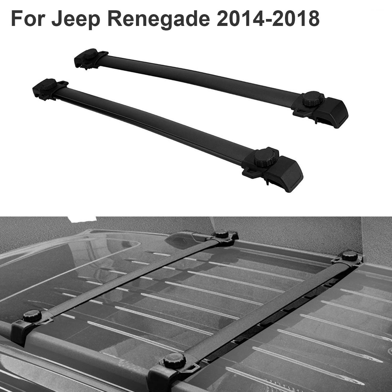 ALAVENTE Roof Rack Cross Bars for Jeep Renegade 2014-2018 with Side Rails (Pair, Black)