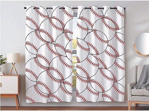 KLRI Curtains Blackout 2 Panel Top Grommet Window Coverings Darkening 54 x 84 Inch Interlocking Baseball