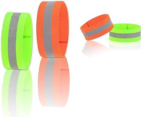 KAKOO 4pcs brazaletes Reflectantes Visibilidad Alta elástico Aire ...