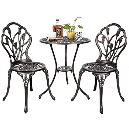 Image Unavailable - Amazon.com : Tulip Design Antique Copper Cast Aluminum 2 Chairs