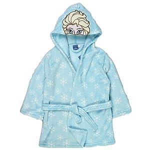 Girls Disney Frozen Hooded Fleece Dressing Gown Elsa Anna Bath Robe Kids  Size UK 2- 14f7accbb