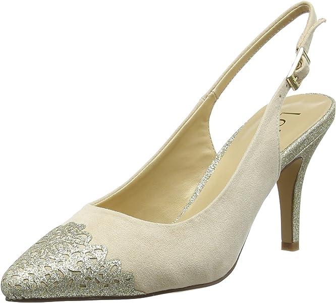 1104c289c2 Lotus Women's Arlind Sling Back Heels Beige (Natural/Gold Glitz) 3 UK 36