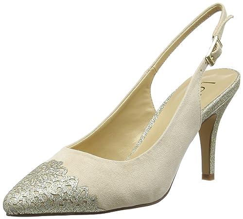 Womens Arlind Sling Back Heels, Beige (Natural/Gold Glitz), 7 UK 41 EU Lotus