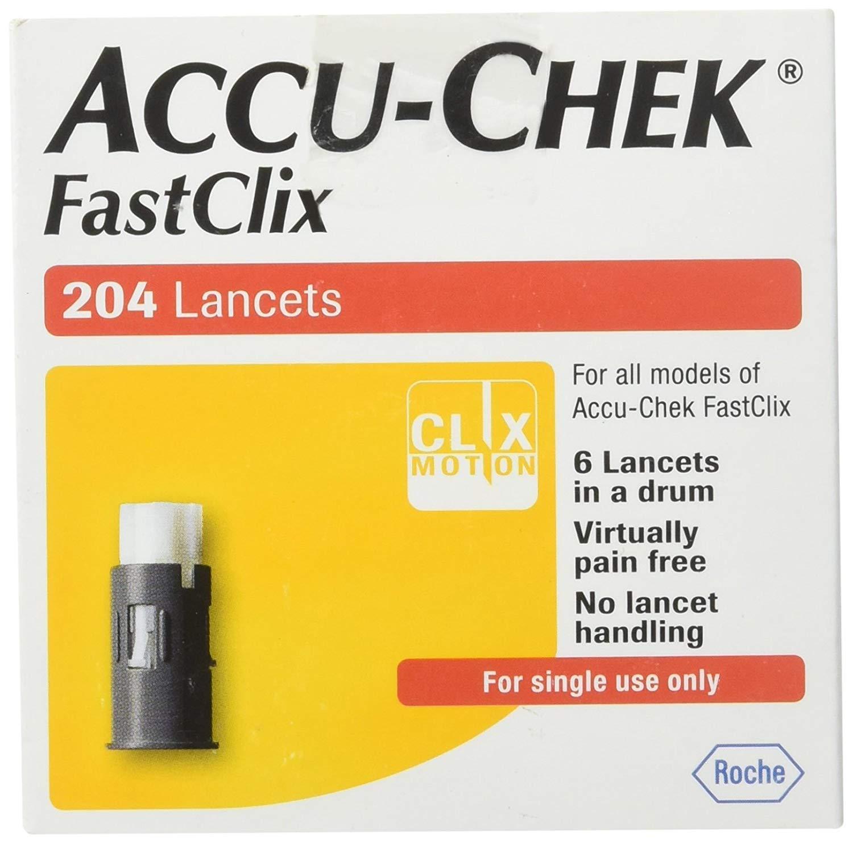 Fastclix ACCU-CHEK Lancets 200+4 lancets (3 Pack (204 Count))