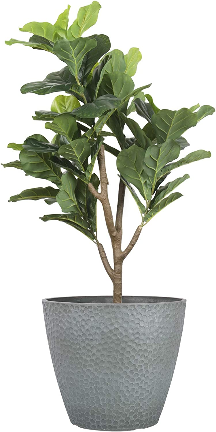 Outdoor Indoor Tree Planters - 14 Inch Large Planter Flower Pots Containers, Plant Pots, Storm Gray, Honeycomb