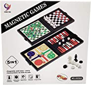 5 in 1 Magnetic Travel Checkers and Chess Set for Kids and Adults
