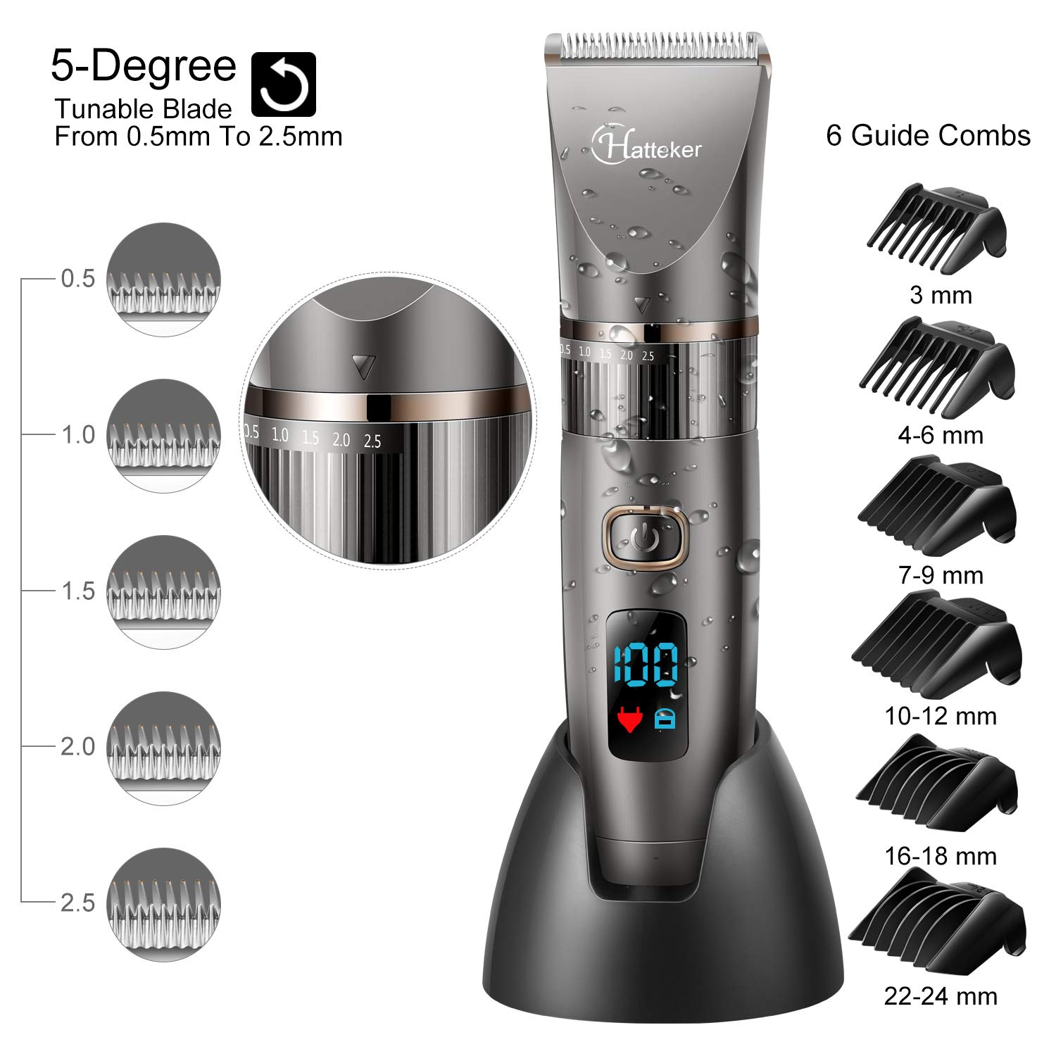 Men's Beard Trimmer & Hair Cutting Kit, Cordless Waterproof Multi-Functional Grooming Kit
