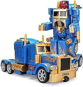YARMOSHI Robot Camión 2 En 1 Figura De Acción, Autobot. Este Juguete De Combate con Mando A Distancia Tiene Una Conexión USB para Facilitar La Carga. Hecho De Materiales Seguros Y Resistentes: