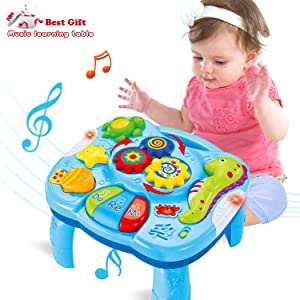WISHTIME 2 in 1 Musical Learning Table - Baby 2 in 1 Early Education Toys Music Activity Center Table for Infant Babies Toddler Boys Girls 6 Months up