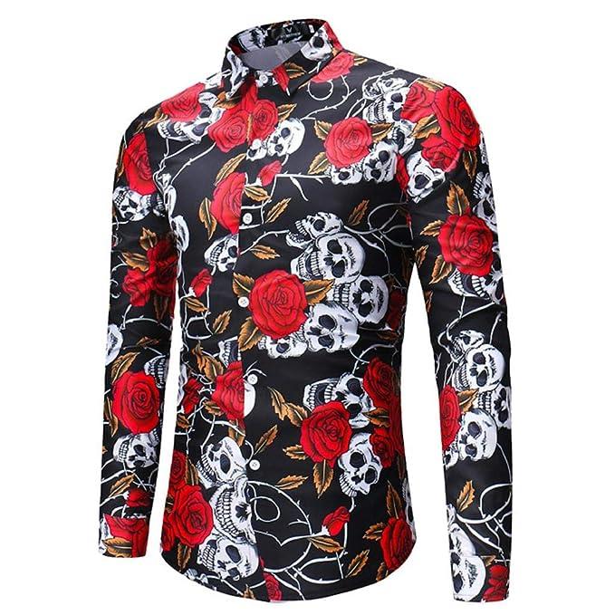 Quicklyly Estampada Hombre Floresanclavintage Manga Larga Camisa w8FCwqPv